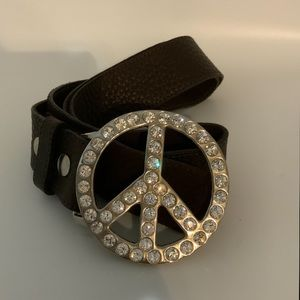 Leatherock Belt with Peace Sign Crystal Buckle